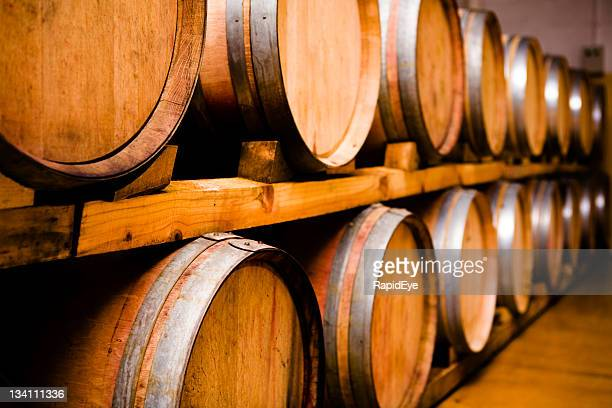 wine casks (series) - oak wood material stock photos and pictures