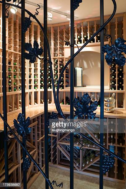 wine cellar room basement storage bottles stacked