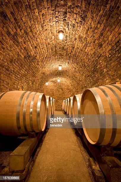 Weinkeller mit großen Fässern