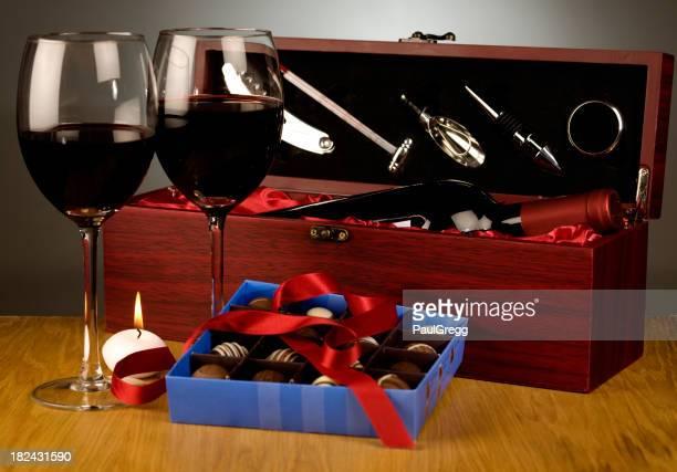 Vin et chocolats et bougie