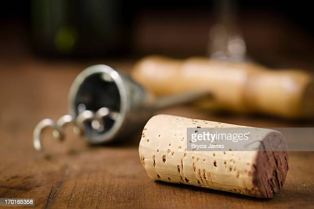 wine cork, corkscrew, wineglass, and bottle horizontal - wine cork stock photos and pictures