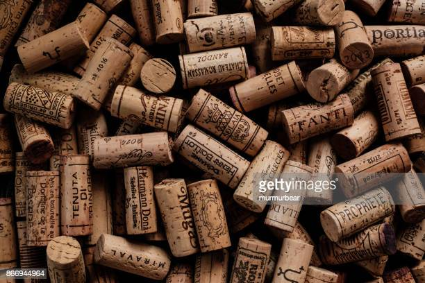wine corks with brand names and logos. - wine cork stock photos and pictures