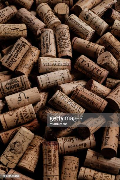 wine corks with brand names and logos.