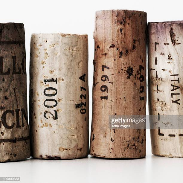 wine corks with dates - wine cork stock photos and pictures