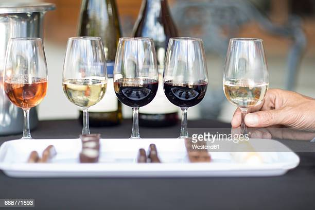 wine degustation with chocolates - tasting stock pictures, royalty-free photos & images