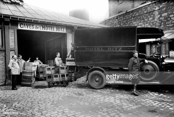 A wine delivery at the cellars of the Ritz hotel in the 1st arrondissement Paris circa 1905