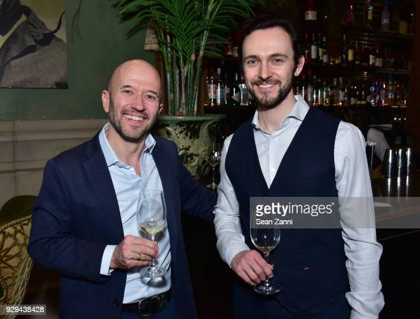 Wine expert Joe Fattorini and Actor George Blagden attend as Ovation TV hosts 20182019 Programming Preview at Soho Grand Hotel on March 8 2018 in New...
