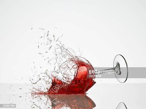 wine glass breaking - wine glass stock pictures, royalty-free photos & images