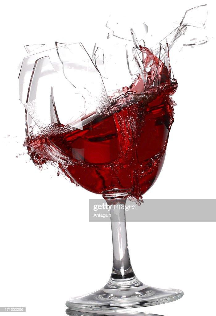Wine glass breaking : Stock Photo