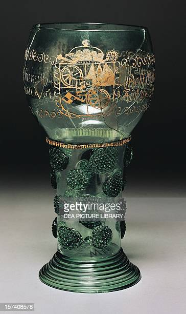 Wine glass in glass with the insignias of the constituents of Mainz by Romer Germany 17th century Cologne Museum Für Angewandte Kunst