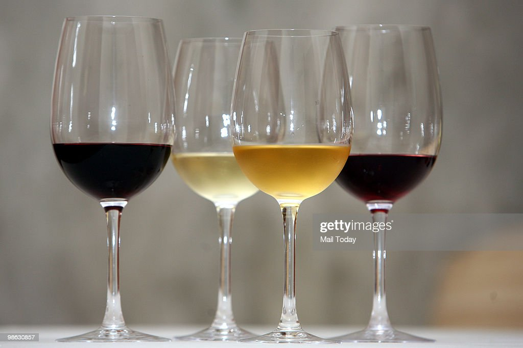 Wine glasses are displayed at a wine tasting session in New Delhi on April 19, 2010.