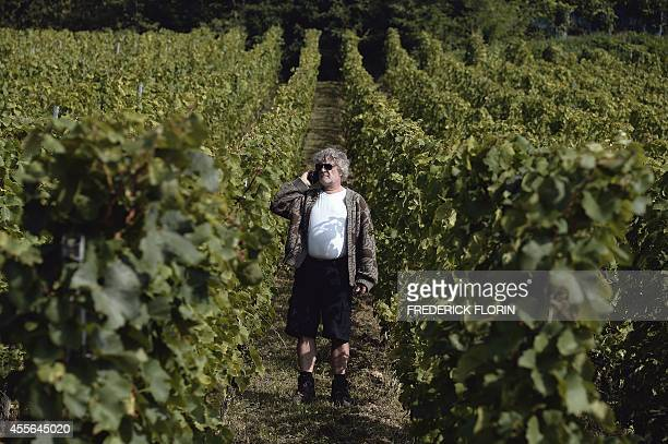 Wine grower JeanMichel Deiss spekas on his mobile phone as he walks past vines at his vineyards on September 9 2014 on the Altenberg hills in...