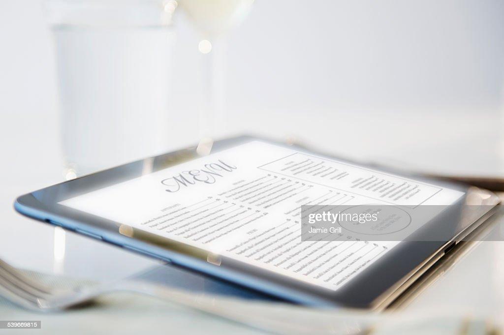 Wine list on digital tablet : Stock Photo