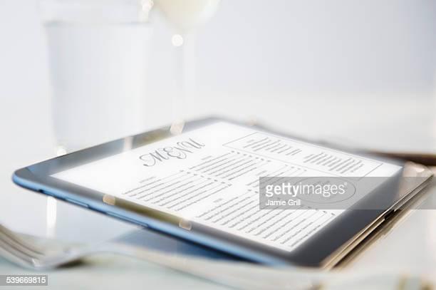 Wine list on digital tablet