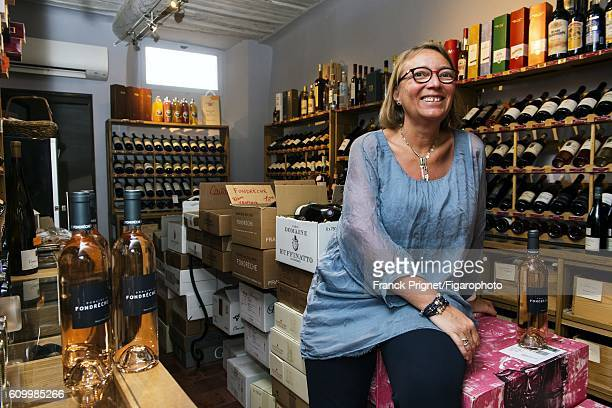 Wine merchant MariePierre Le Bris is photographed for Le Figaro Magazine on June 16 2016 in her store 'Au goût du jour' in Roussillon France...