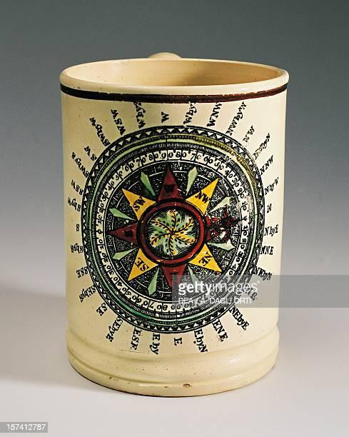Wine mug depicting a compass rose ceramic Staffordshire manufacture England 18th century