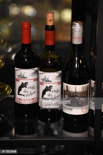 Wine on display in the Etihad Airways VIP Lounge at NYFW The Show at IMG NYFW The Shows LOBBY on February 12 2018 in New York City