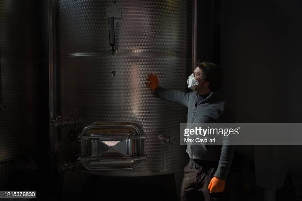 Wine producer Federico Perdisa in fermentation room on March 28 2020 in Maggio Bologna Italy Federico Perdisa is a wine producer of a little...