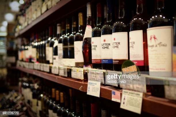 US wine products are seen on a shelf at a supermarket in Beijing on April 3 2018 China on April 2 imposed tariffs on 128 US imports worth 3 billion...