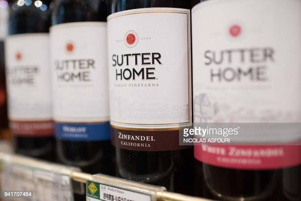US wine products are seen on a shelf at a supermarket in Beijing on April 4 2018 China announced on April 4 plans to hit the United States with new...