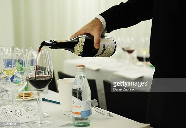 Wine seen poured into Riedel glasses during the Anthony Hamilton Russell Leading The Way With His Iconic Wines From South Africa Wine Seminar Hosted...
