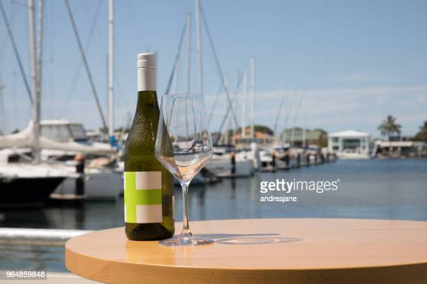 wine served with a marina view - mooloolaba stock pictures, royalty-free photos & images