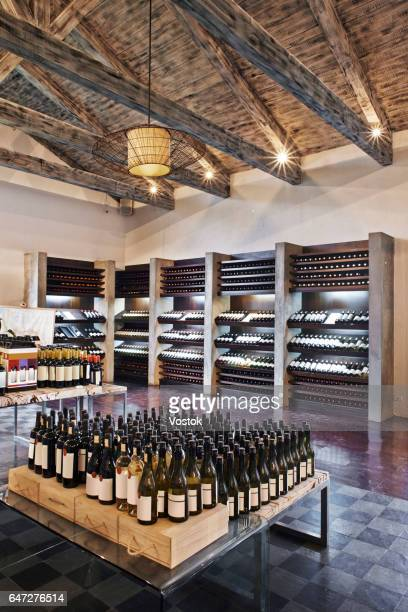 wine shop in a chilean winery - liquor store stock pictures, royalty-free photos & images