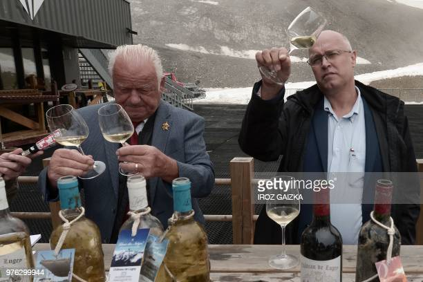Wine specialists attend a wine tasting session of the wine by Bordeaux winemaker Franck Labeyrie in Cauterets Pyrenees southern France on June 7 2018...