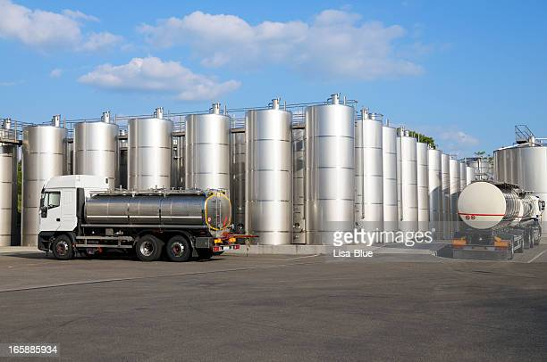 wine storage tanks and trucks - storage tank stock photos and pictures
