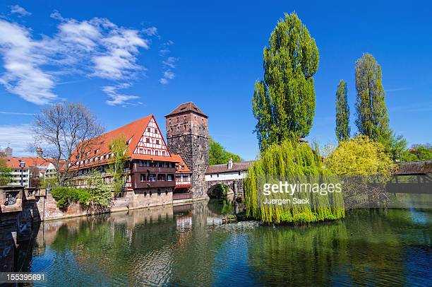 wine store and hangman's bridge nuremberg (weinstadl und henkersteg nürnberg) - nuremberg stock photos and pictures