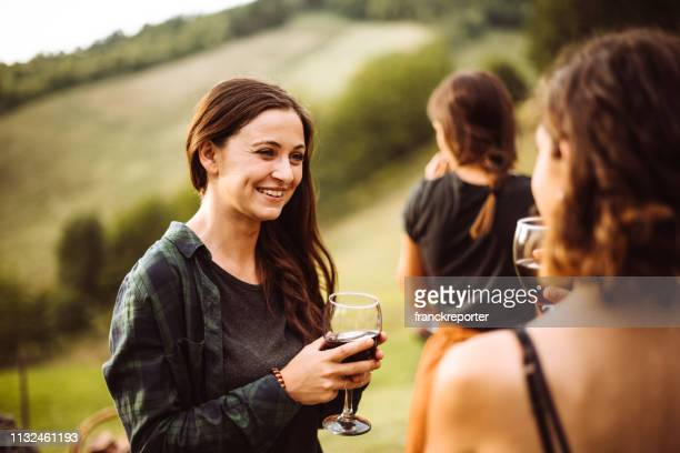 wine tasting at the picnic - chianti region stock photos and pictures