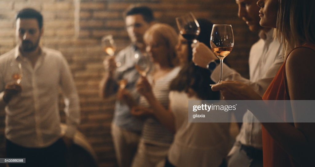 Wine tasting in a wine cellar. : Stock Photo
