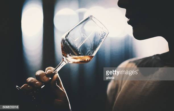 wine tasting in wine cellar. - white wine stock pictures, royalty-free photos & images