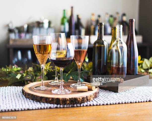 Wine tasting theme with various bottles of wine and glasses