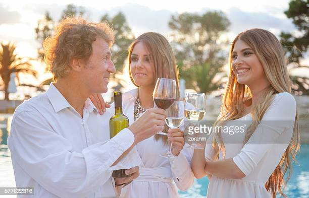 Wine toast at a party