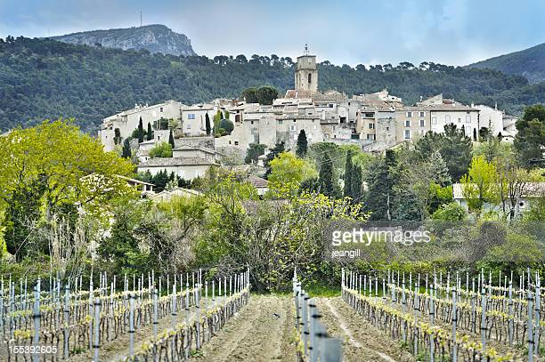 wine village in provence, france - rhone stock pictures, royalty-free photos & images