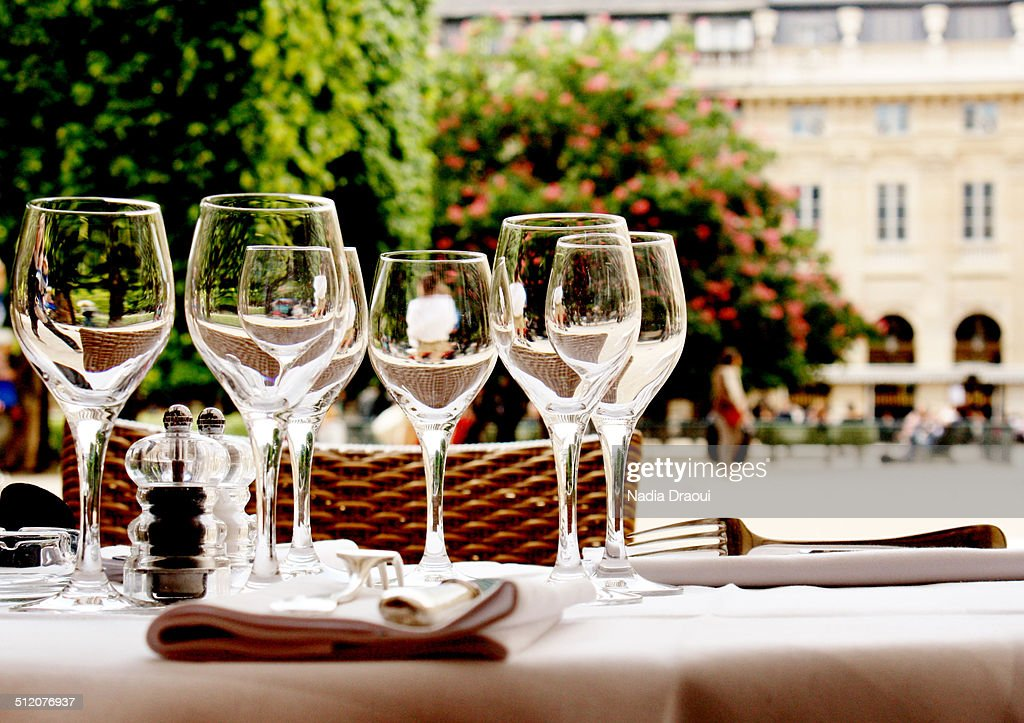 Wineglasses and table setting : Stock Photo
