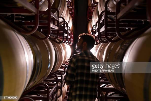 ワインメーカーが地下室でオーク樽をチェック - 地下貯蔵室 ストックフォトと画像
