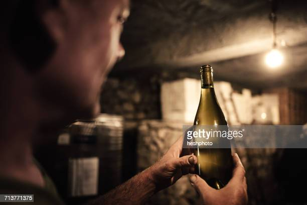 winemaker gazing at wine bottle in cellar - viniculture stock pictures, royalty-free photos & images