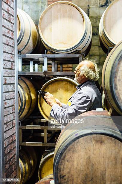 Winemaker man checks his wine in the barrels