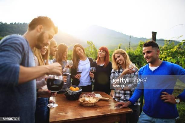 Weinbau-Party im Agriturismo in Italien