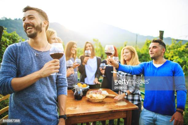 Winemaking party at agriturismo in Italy