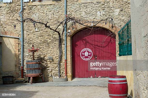 A winery in the village of ChateauneufduPape which is in the Vaucluse department ProvenceAlpesC��te d'Azur region in southeastern France