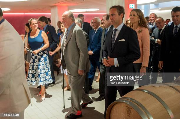 Winery owner Ariane de Rothschild King Juan Carlos and Princess Elena of Spain attend Macan Winery inauguration on June 16 2017 in Alava Spain