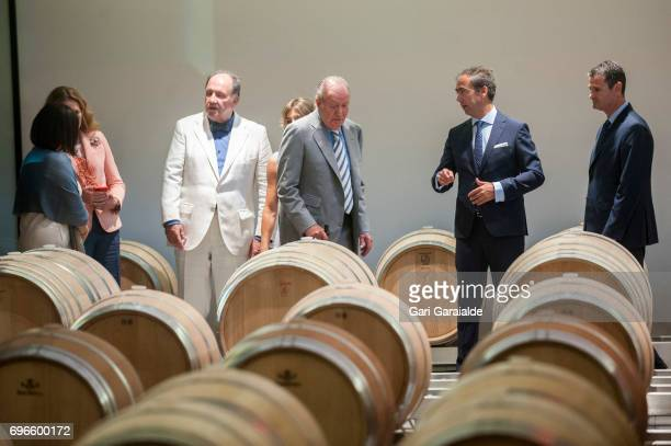 Winery owner Pablo Alvarez Mezquiriz and King Juan Carlos attend Macan Winery inauguration on June 16 2017 in Alava Spain