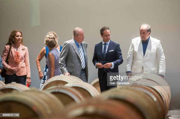 Winery owner Pablo Alvarez Mezquiriz King Juan Carlos and Princess Elena of Spain attend Macan Winery inauguration on June 16 2017 in Alava Spain