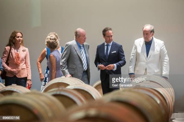 Winery owner Pablo Alvarez Mezquiriz King Juan Carlos and Princess Elena of Spain attend Macan Winery inauguration on June 16 2017 in Alava Spain