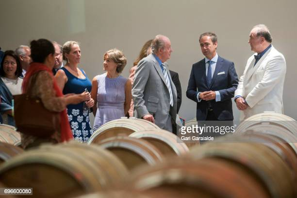 Winery owner Pablo Alvarez Mezquiriz King Juan Carlos Spain's Agriculture Minister Isabel Garcia Tejerina and Ariane Rothschild attend Macan Winery...