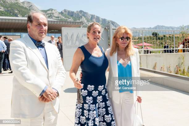 Winery owners Ariane de Rothschild and Pablo Alvarez Mezquiriz and Baroness Carmen Thyssen Bornemisza pose at the Macan Winery inauguration on June...