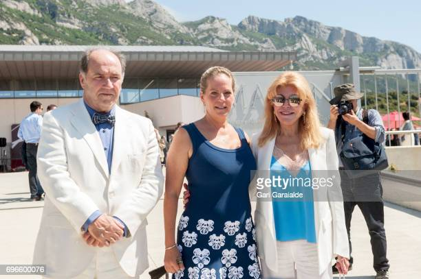 Winery owners Ariane de Rothschild and Pablo Alvarez Mezquiriz and Baroness Carmen Thyssen Bornemisza pose at the Macan Winery inauguration on June...
